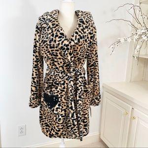 Betsey Johnson Royal Plush Leopard Print Robe NWT